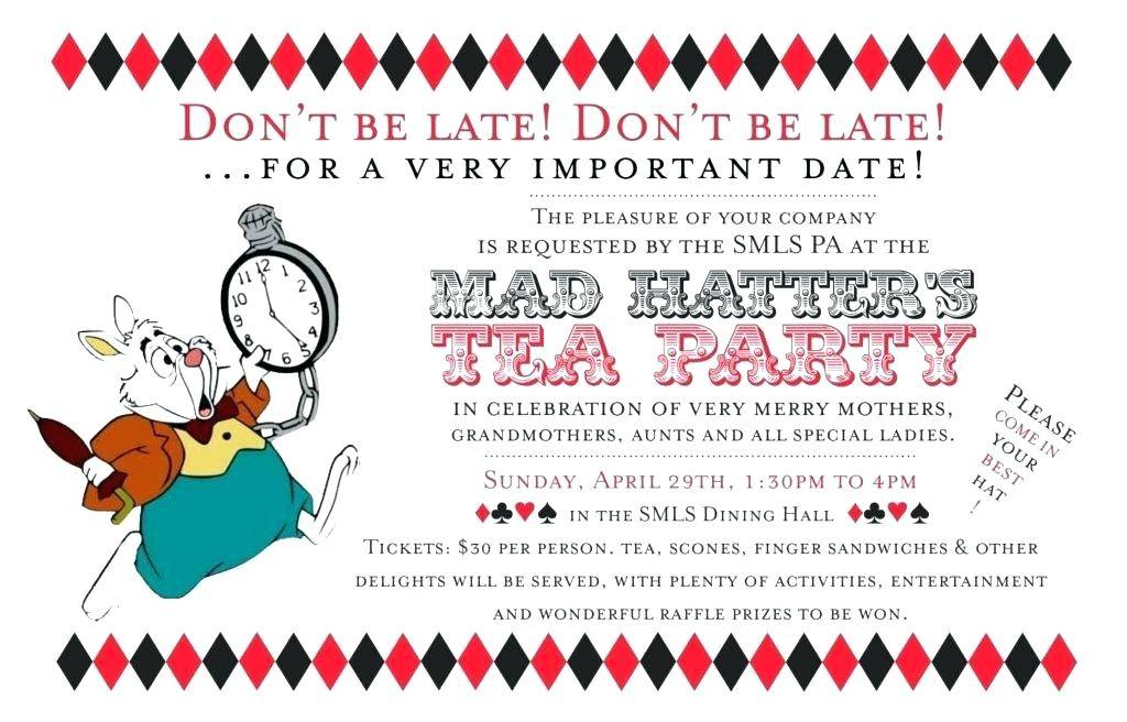 Mad Hatter Tea Invitation Wording