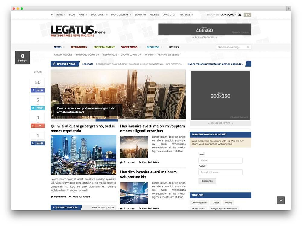 Magazine Template WordPress 2018