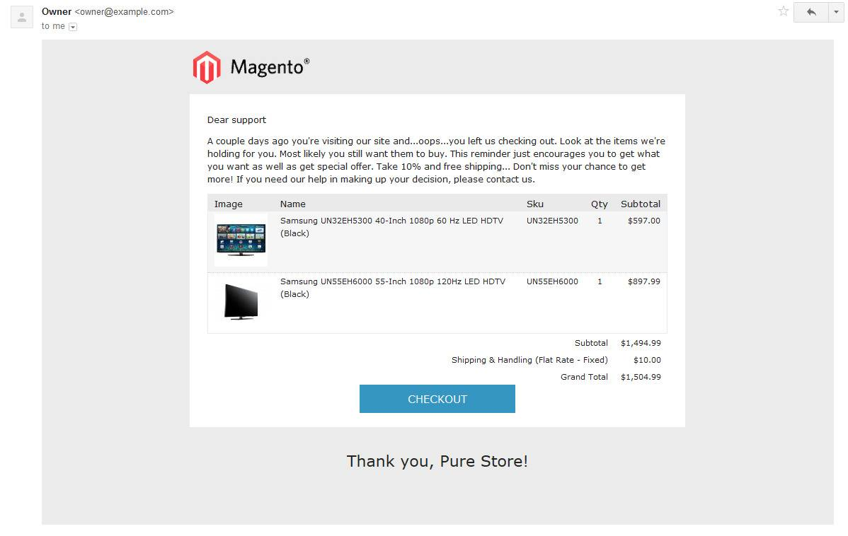 Magento Abandoned Cart Email Template