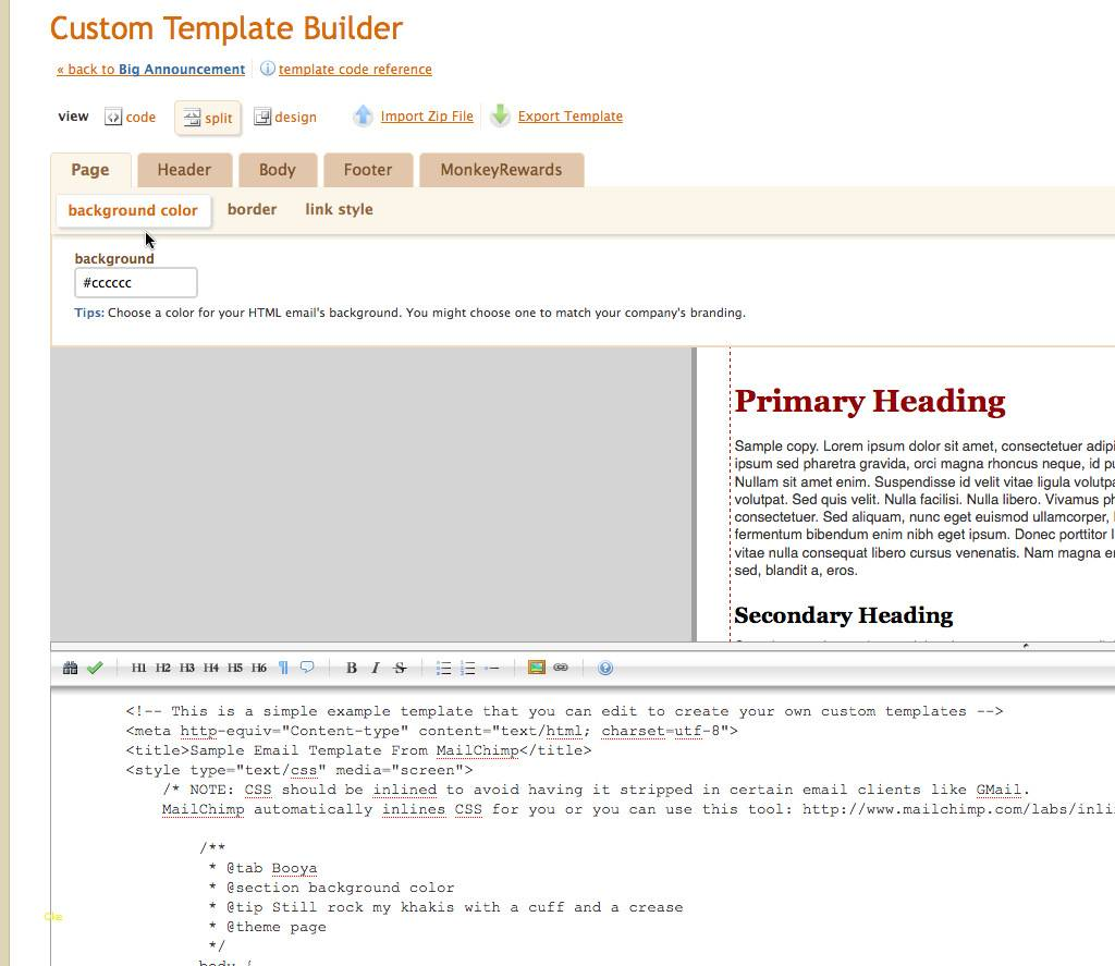 Mailchimp Custom Template Language
