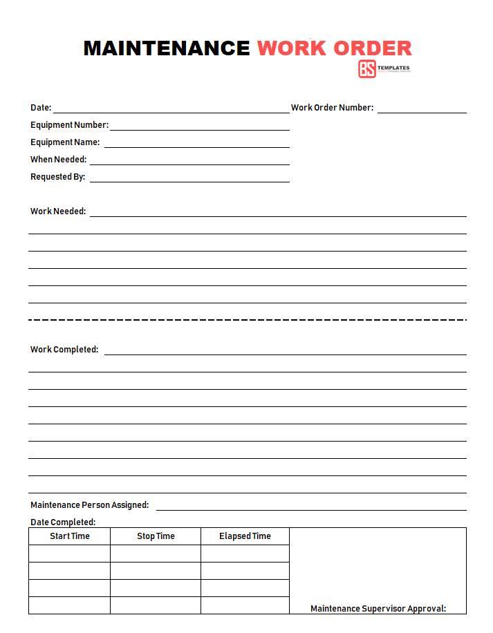 Maintenance Work Order Template Excel