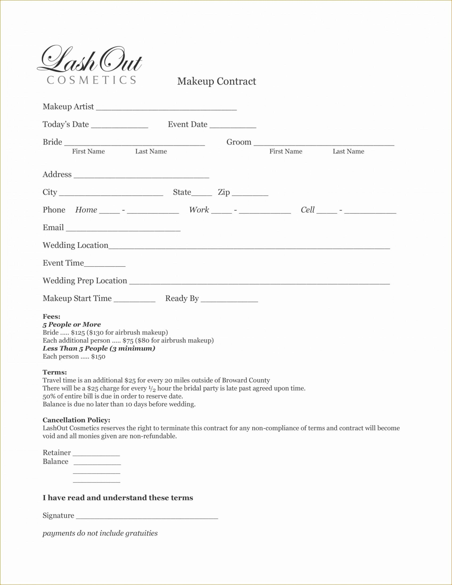 Makeup Artist Bridal Contract Template