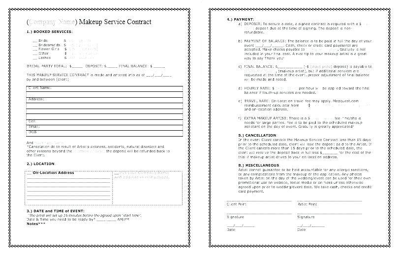 Makeup Contract Form