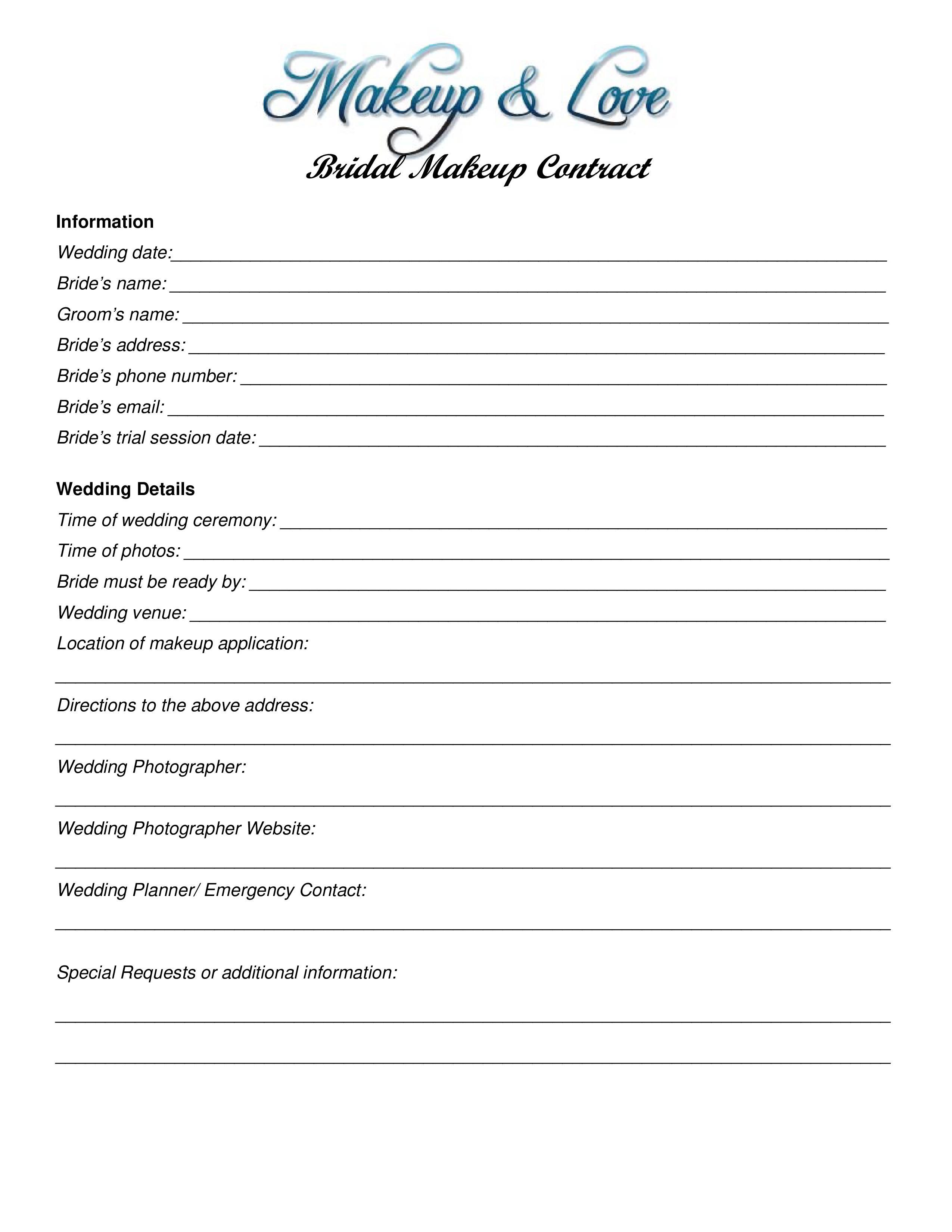 Makeup Wedding Contract Templates