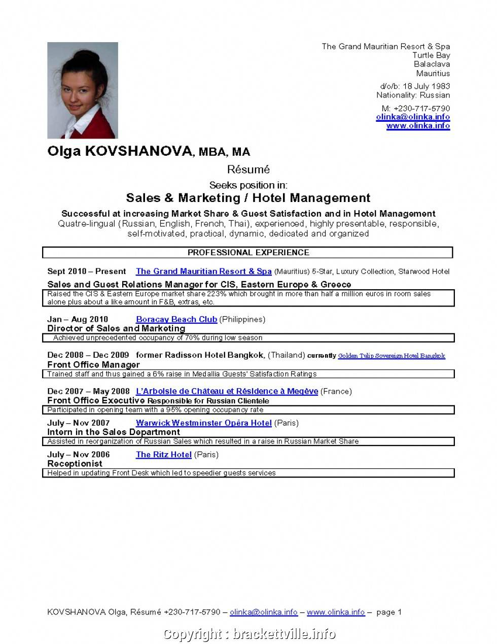 Management Cv Templates Free