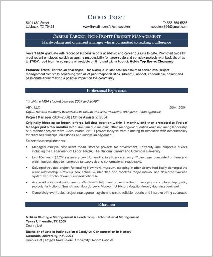 Management Cv Templates