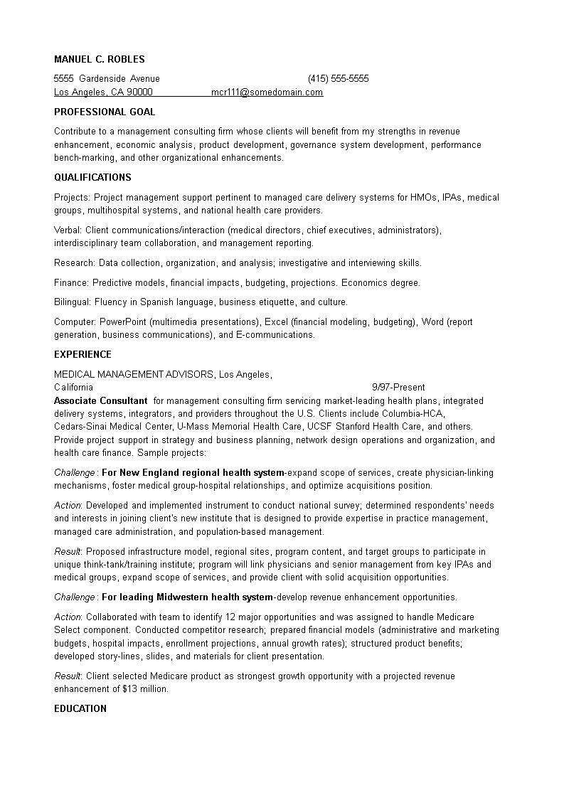 Management Level Resume Templates