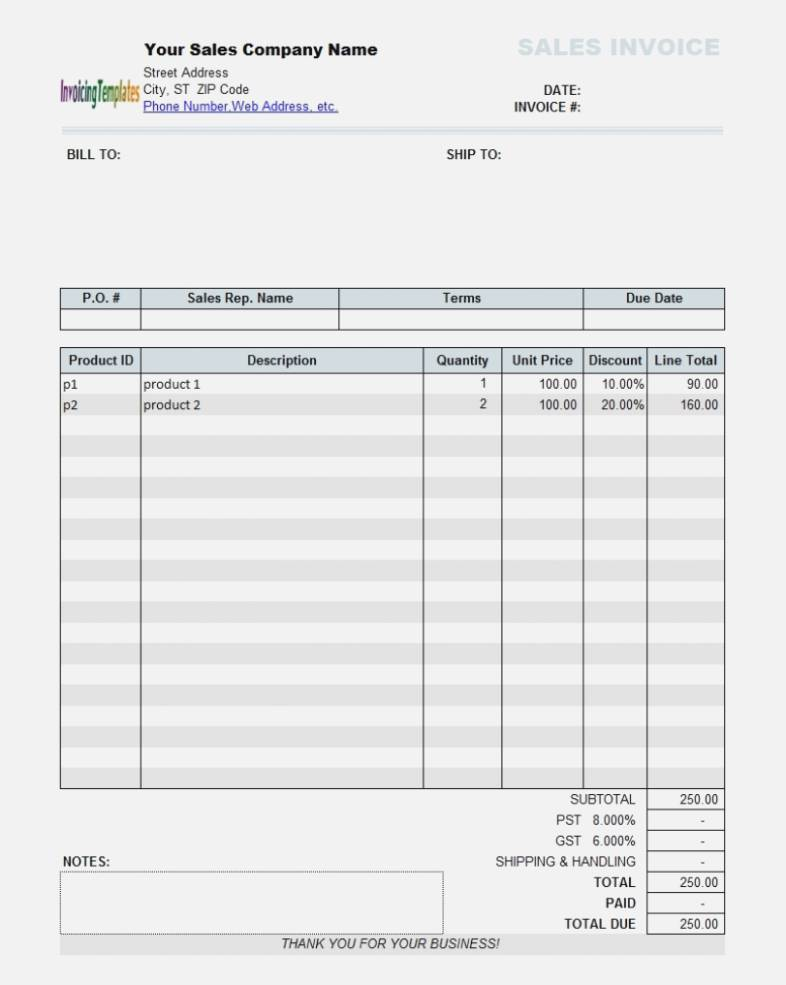 Manual Invoice Template