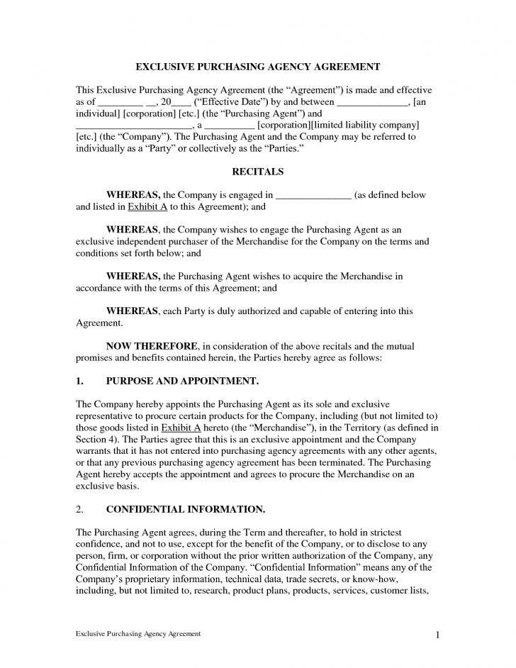 Manufacturing Exclusivity Agreement Template