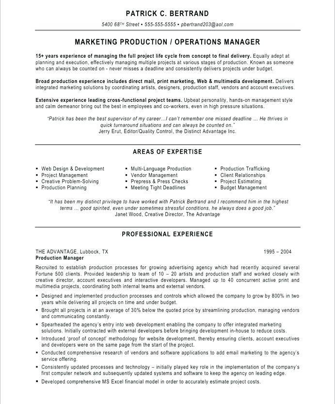 Manufacturing Manager Resume Templates