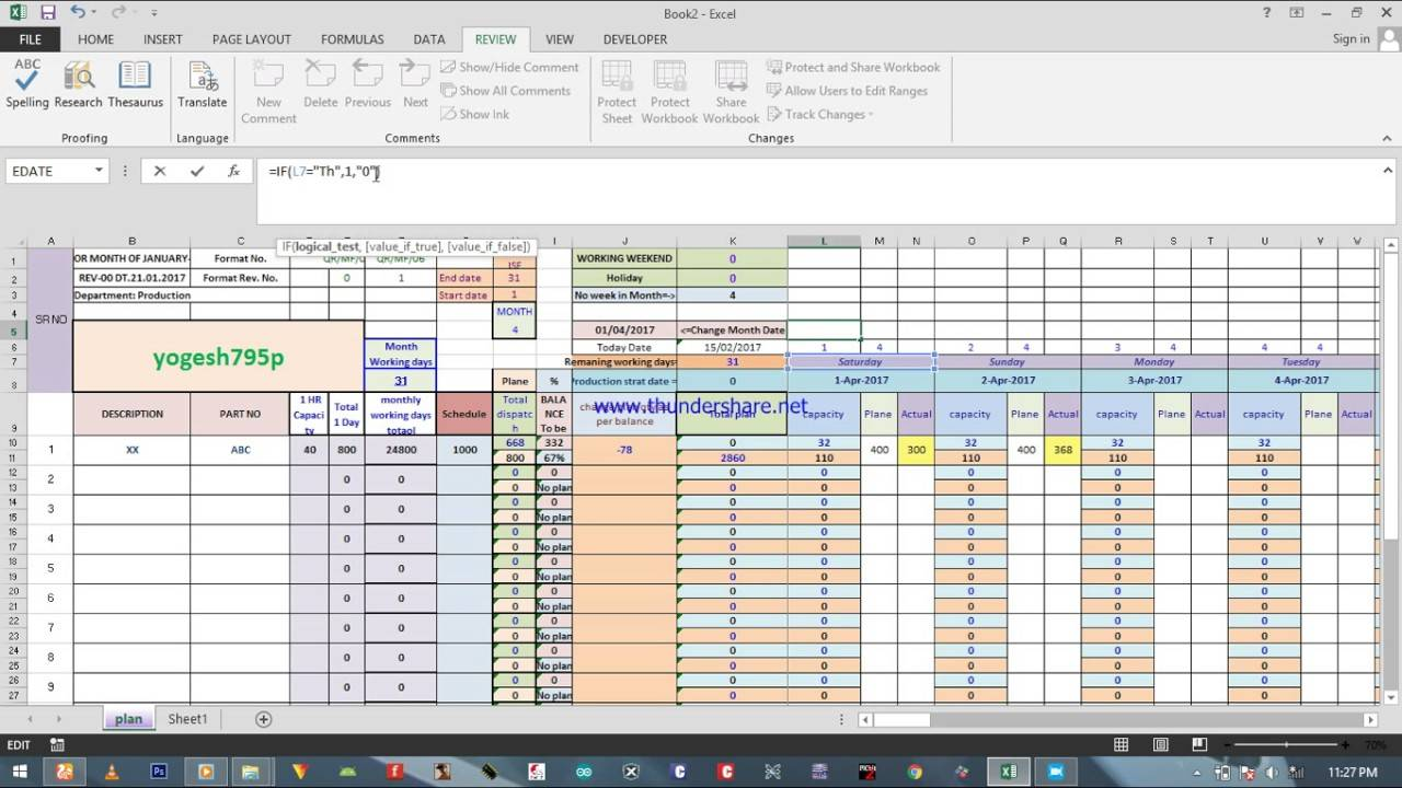 Manufacturing Scheduling Template Excel