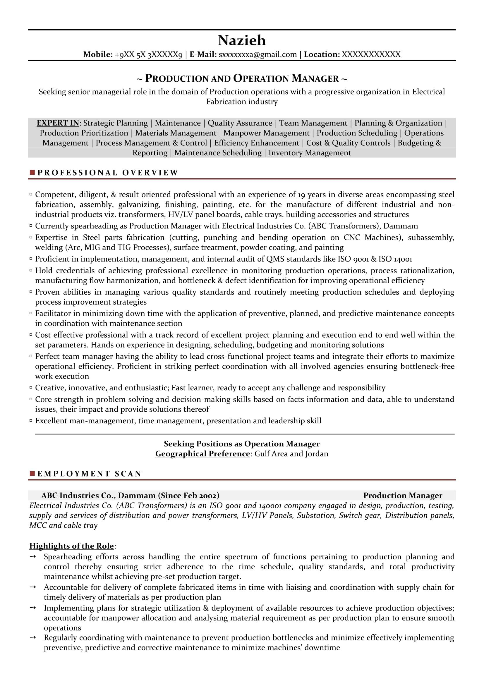 Manufacturing Supervisor Resume Templates