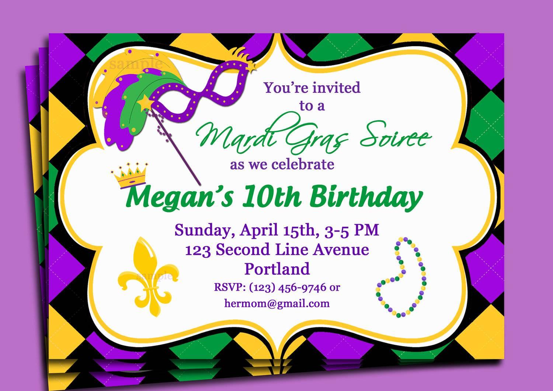Mardi Gras Party Invitations Templates