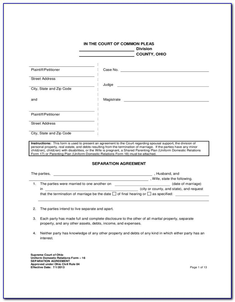 Marital Separation Agreement Examples
