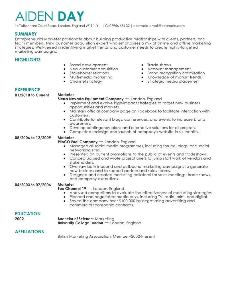Marketing Resume Templates 2018