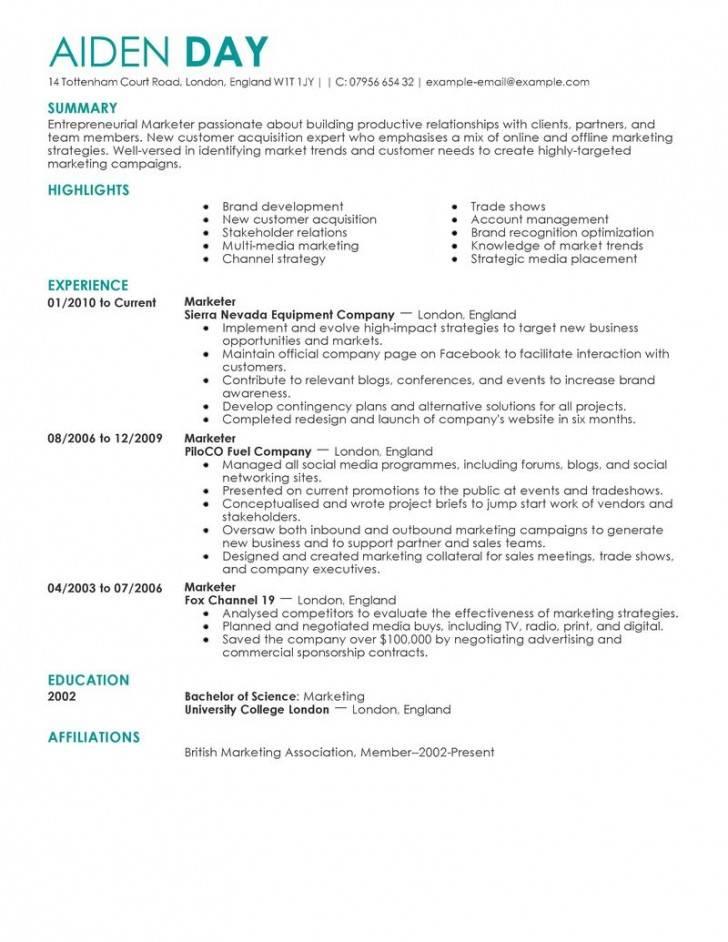 Marketing Resume Templates Word
