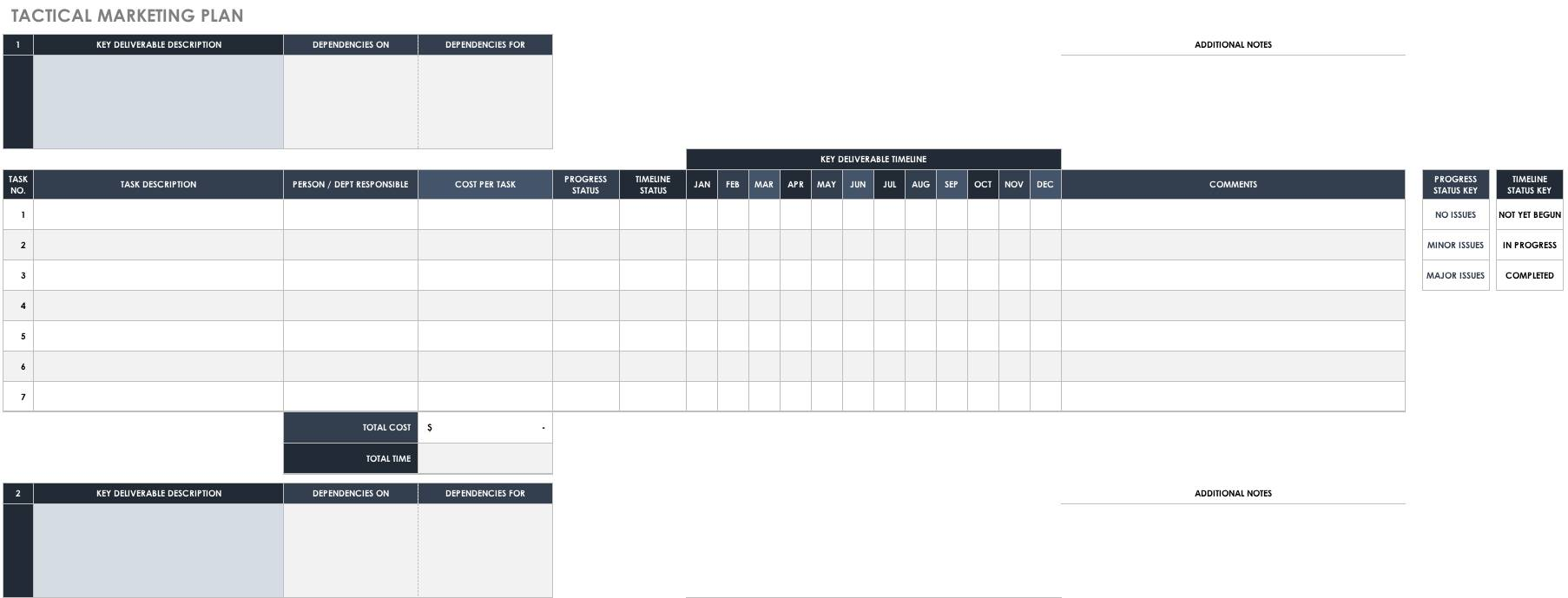 Marketing Tactical Plan Template Excel