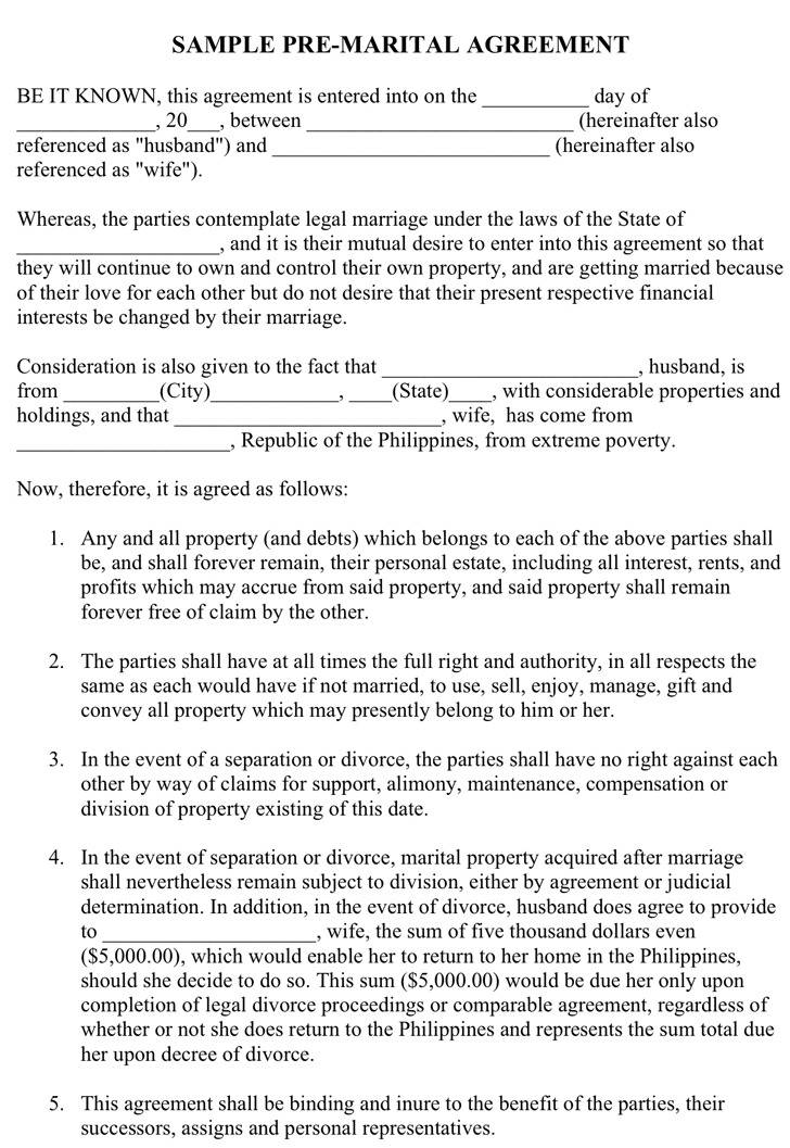Marriage Agreement Sample