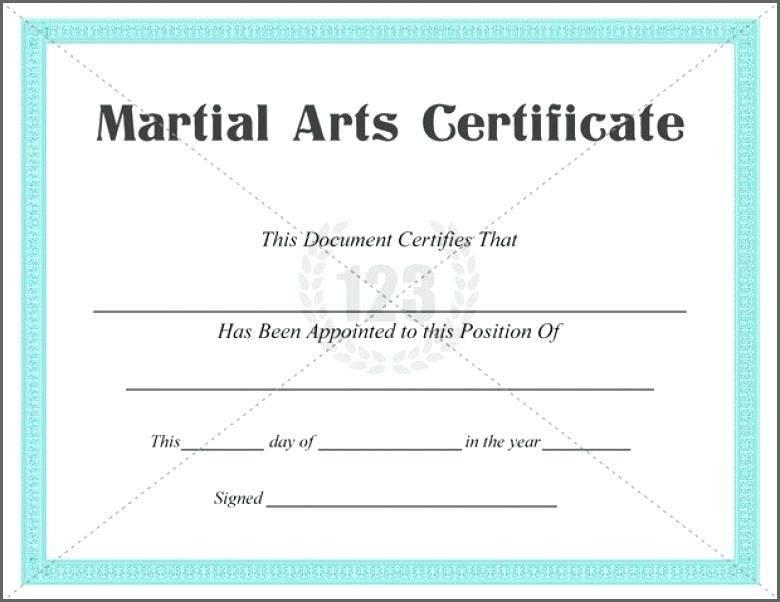 Martial Arts Grading Certificate Template