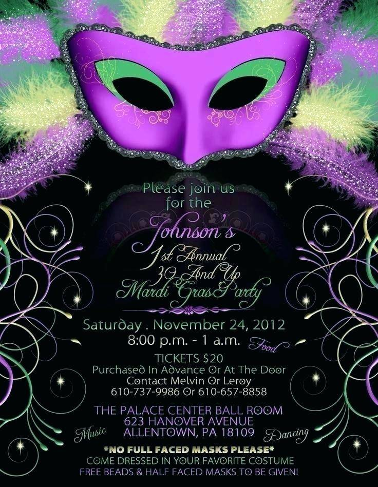 Masquerade Party Invitation Wording Samples