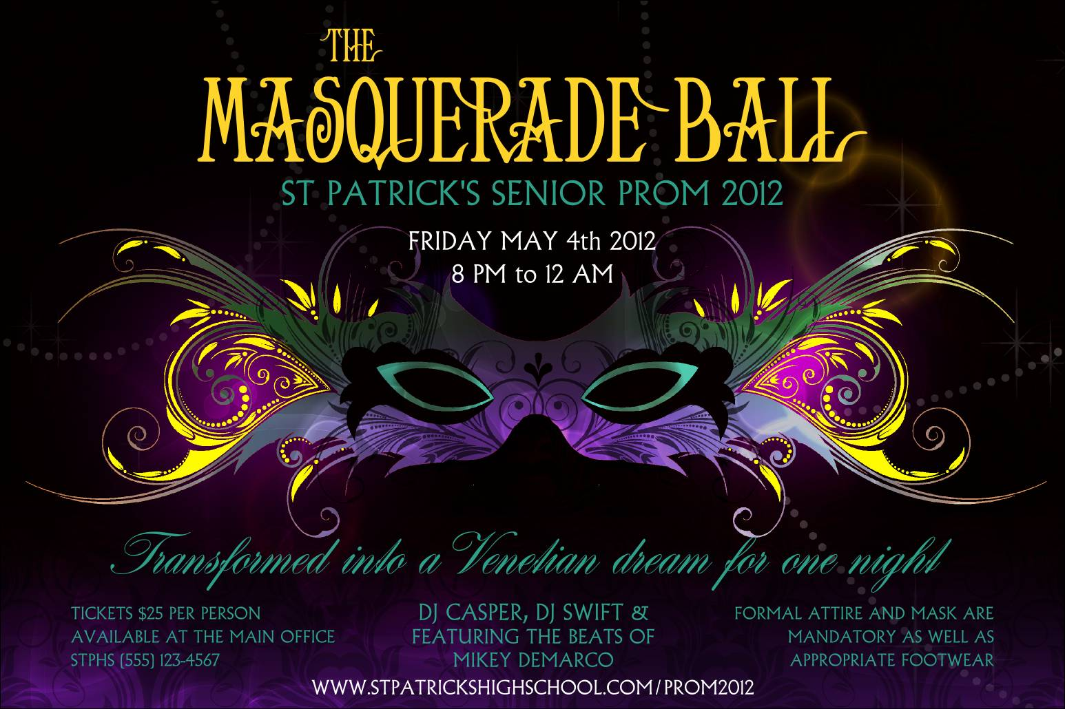 Masquerade Prom Invitation Templates