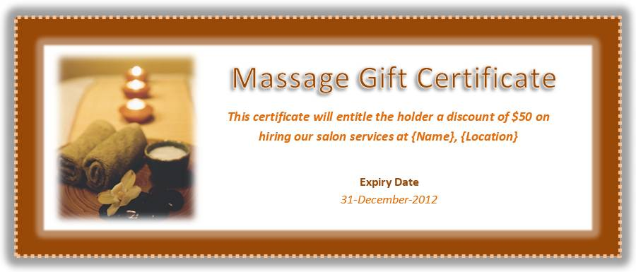 Massage Certificate Template
