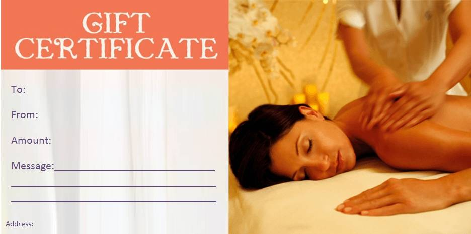 Massage Gift Certificate Template Free