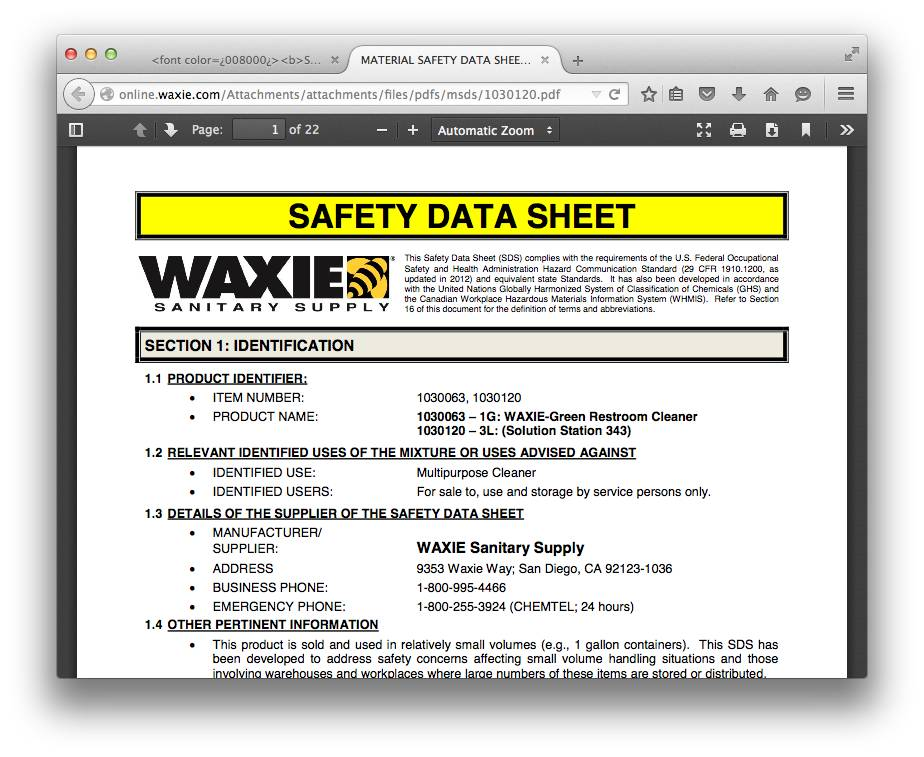 Material Safety Data Sheet Forms