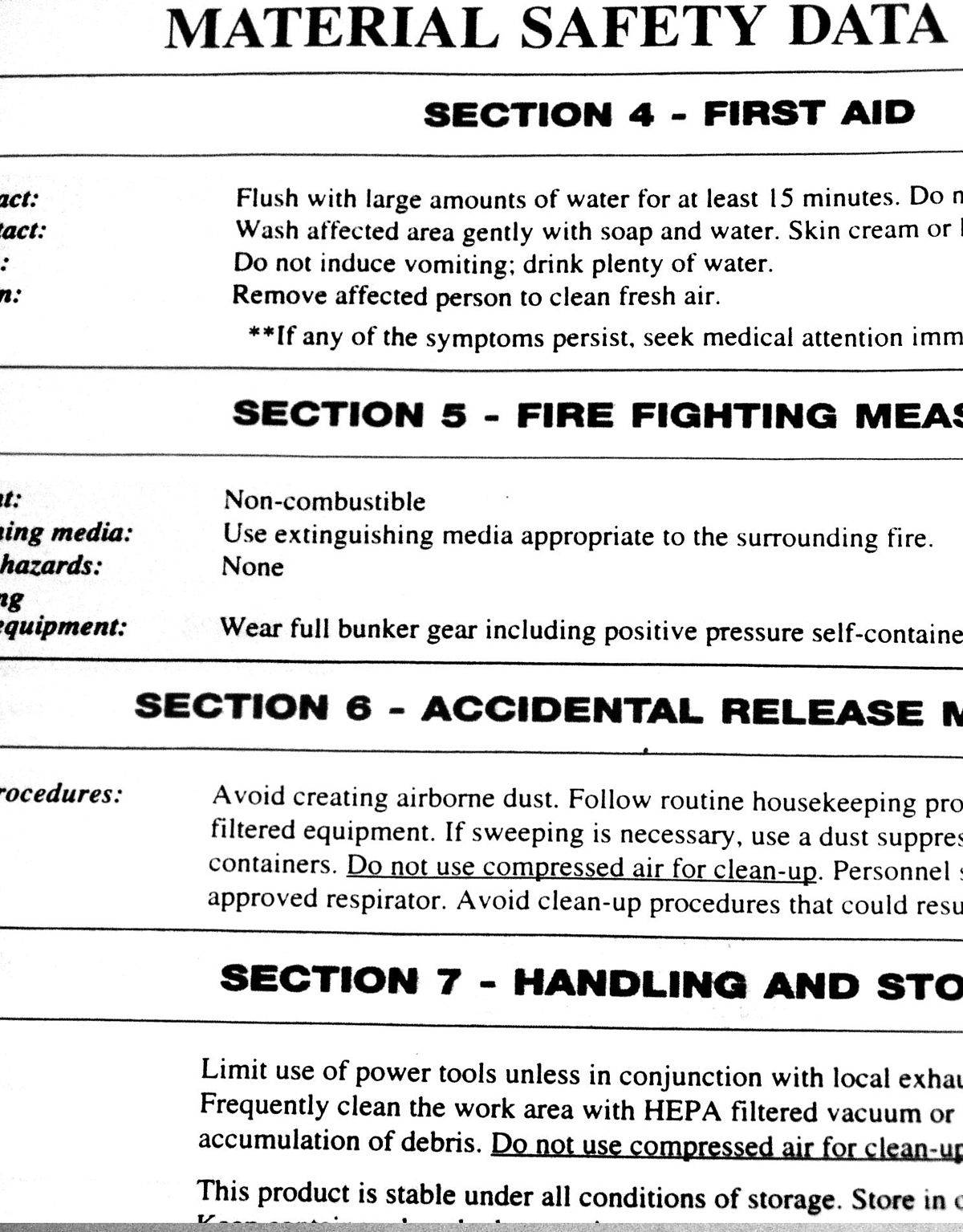 Material Safety Data Sheet (msds) Example
