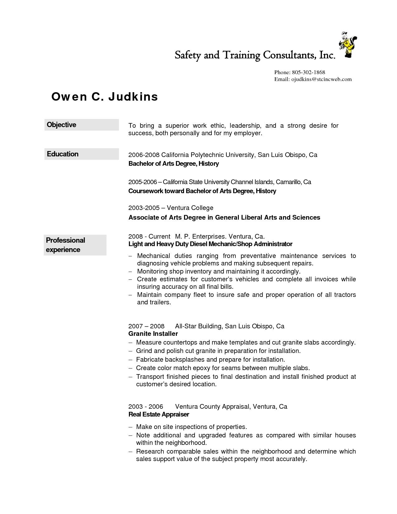 Mechanic Resume Template Australia