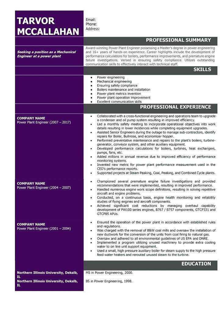Mechanical Engineer Cv Templates Free Download Word Document