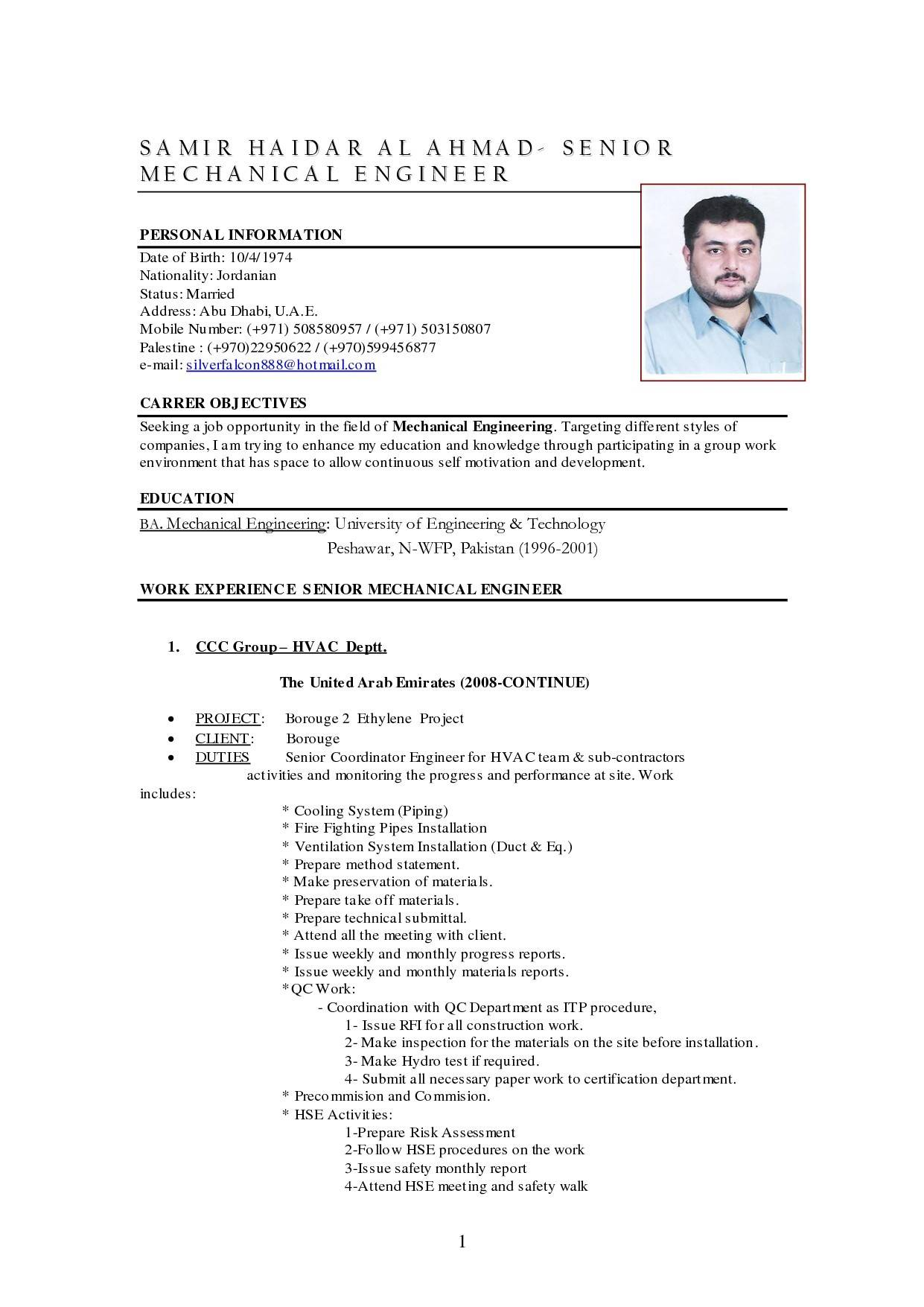 Mechanical Engineering Resume Format For Experienced