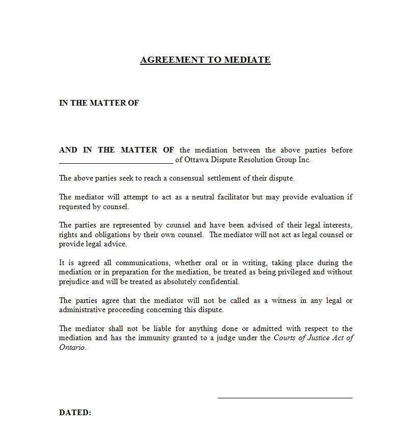 Mediation Agreement Template Ireland