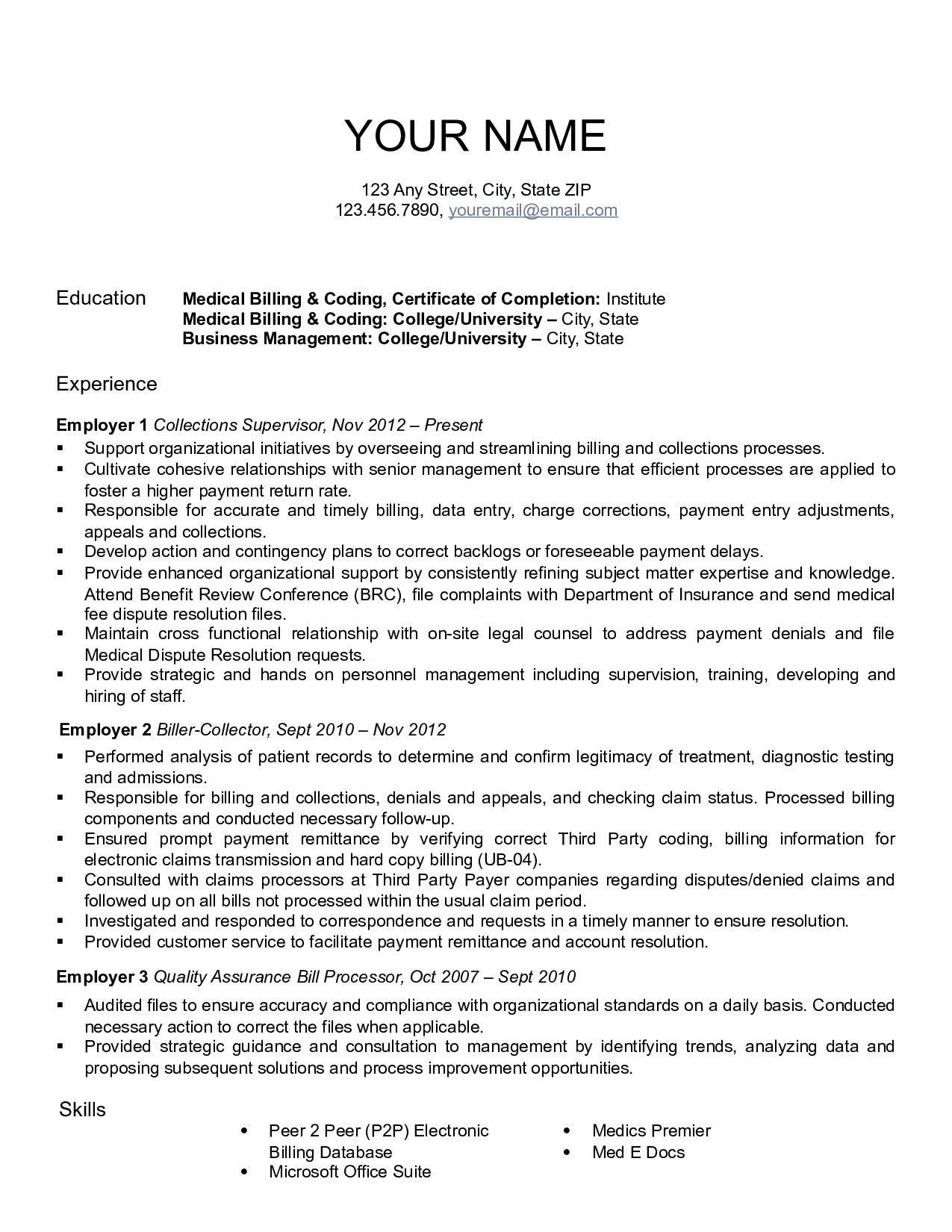 Medical Coding Resume Templates