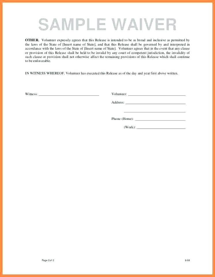Medical Insurance Waiver Template