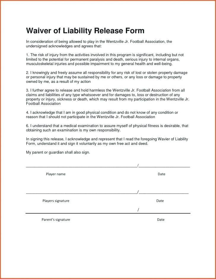 Medical Liability Release Form Template