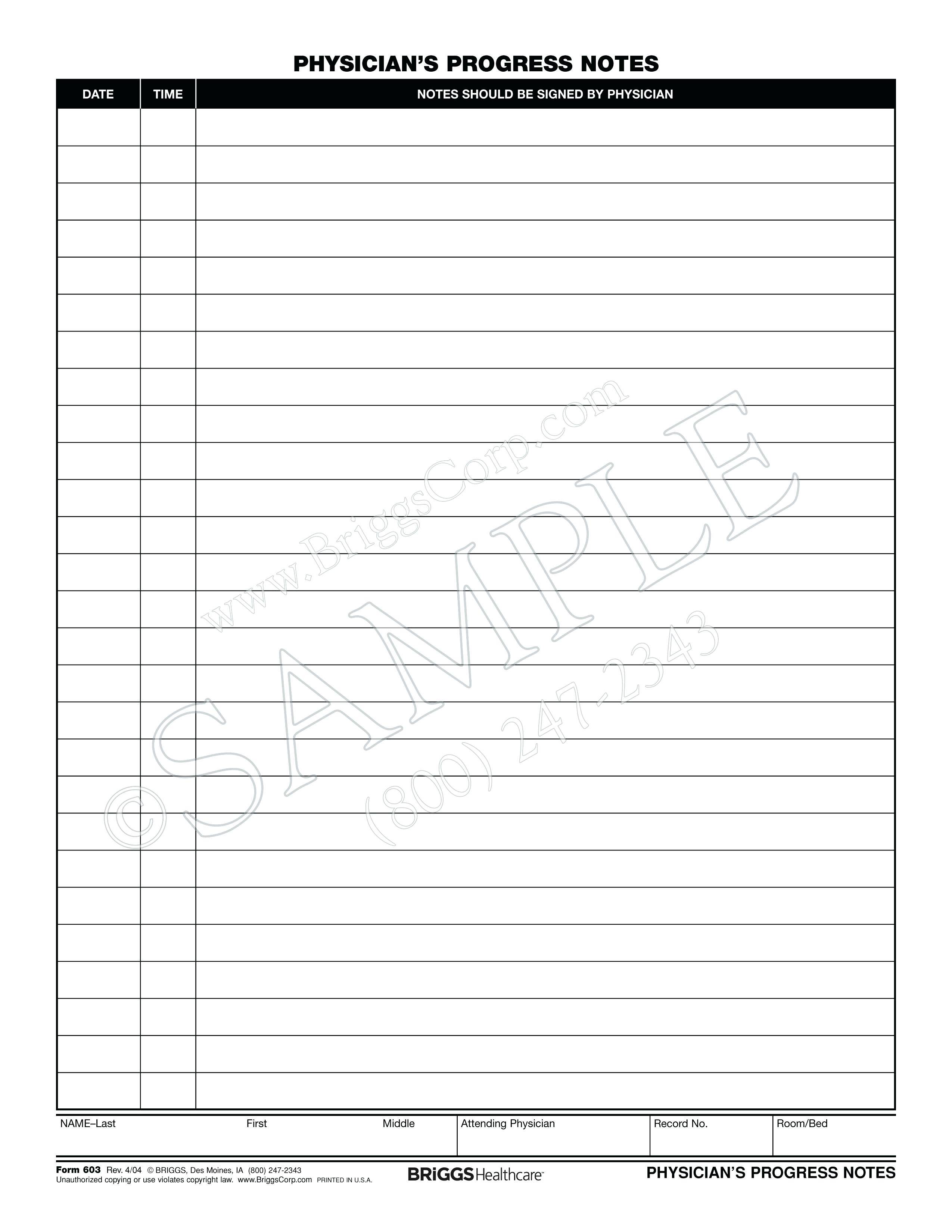 Medical Office Progress Note Template