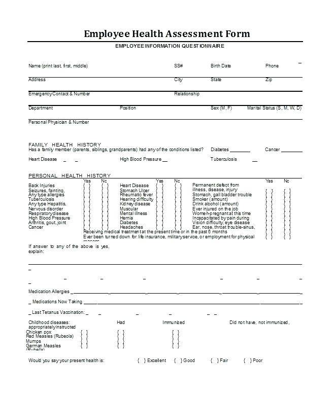 Medical Questionnaire Template Acas