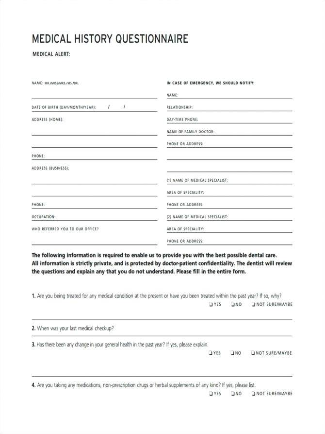 Medical Questionnaire Template For Employees Uk