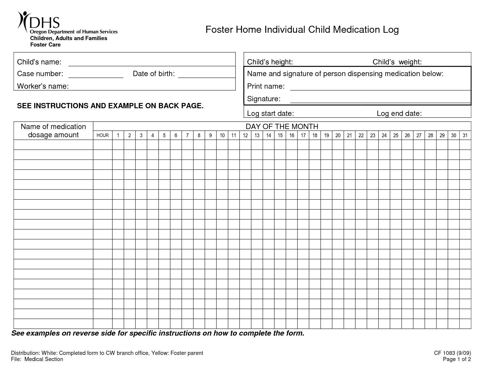 Medication Administration Record Forms For Camp