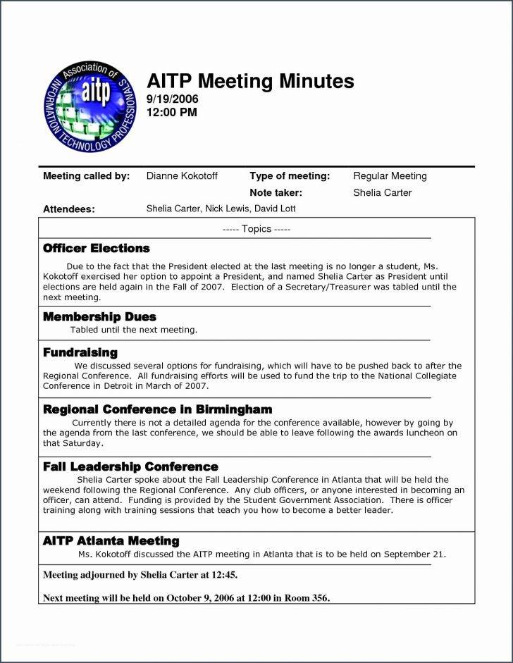 Meeting Minutes Example Doc