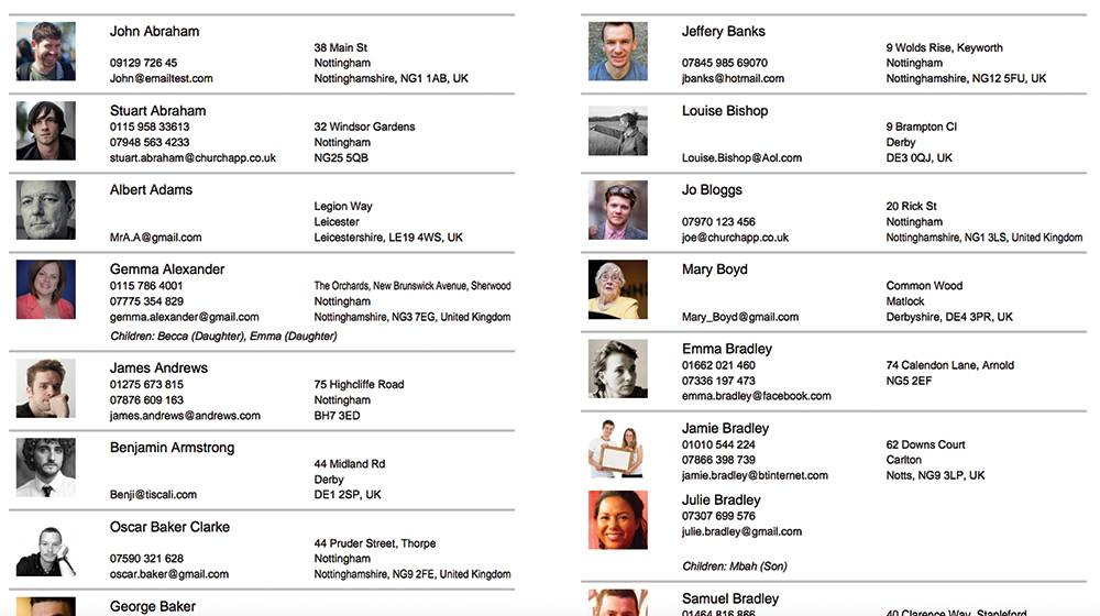 Member Directory Template With Photos
