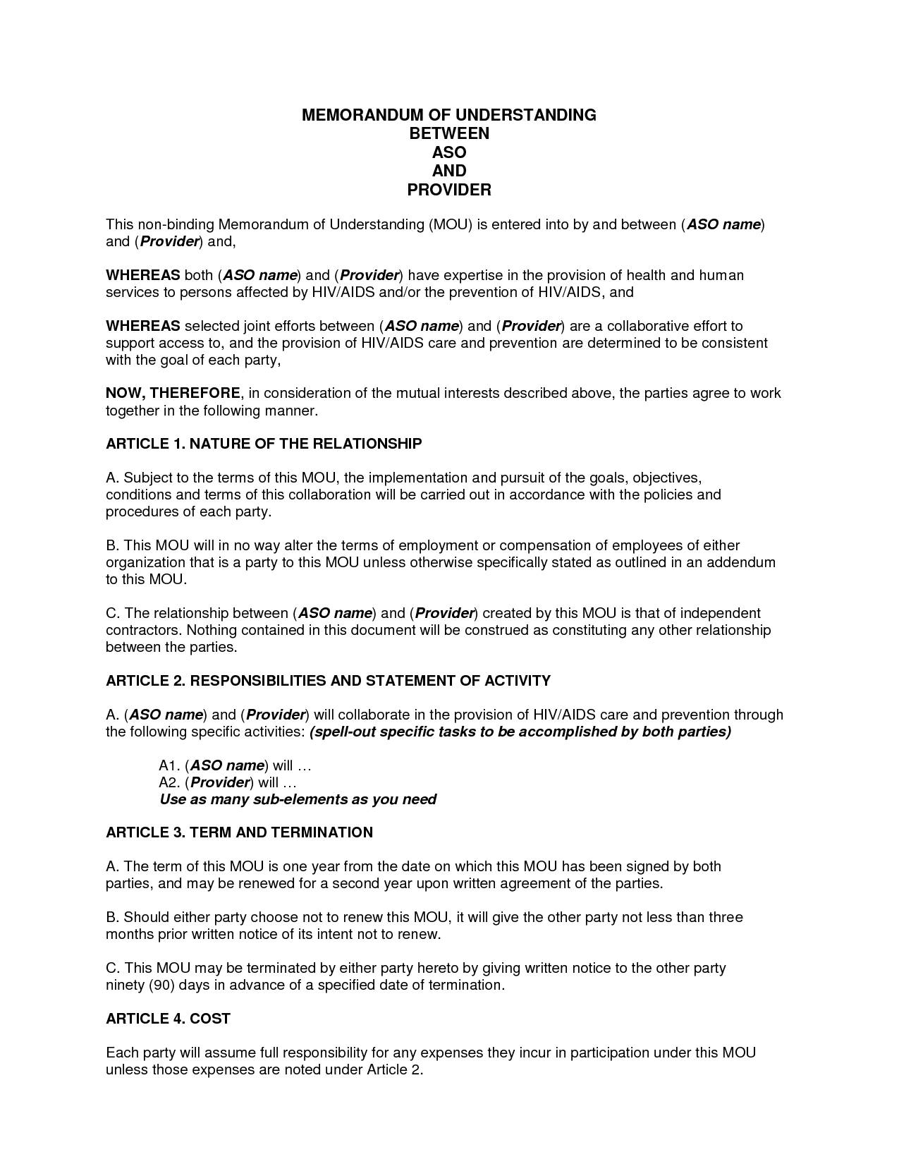 Memorandum Of Understanding Sample Template