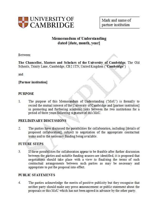 Memorandum Of Understanding Template Free