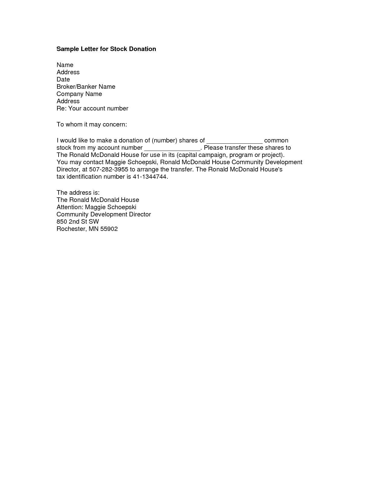 Memorial Donation Letter Template