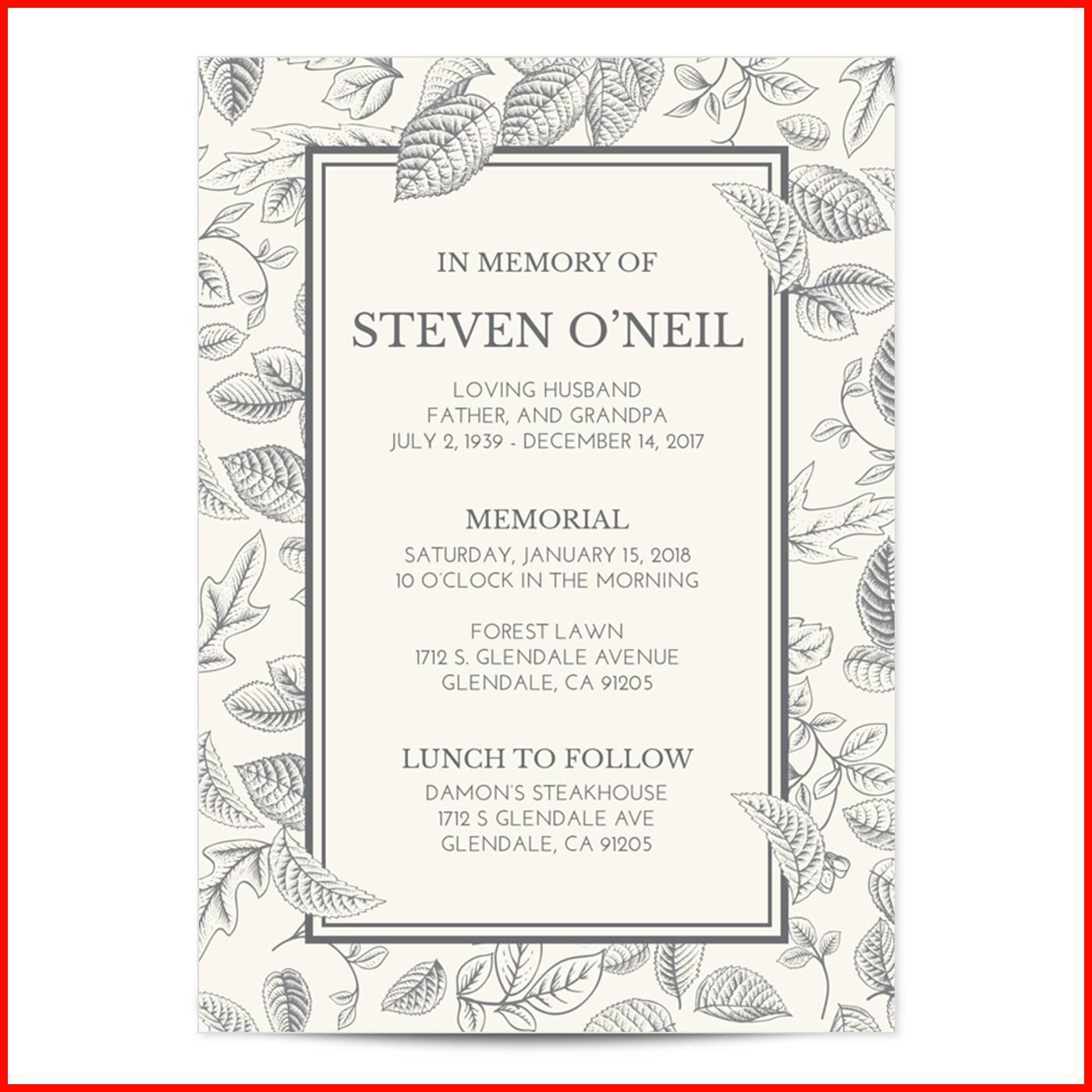 Memorial Invitation Templates