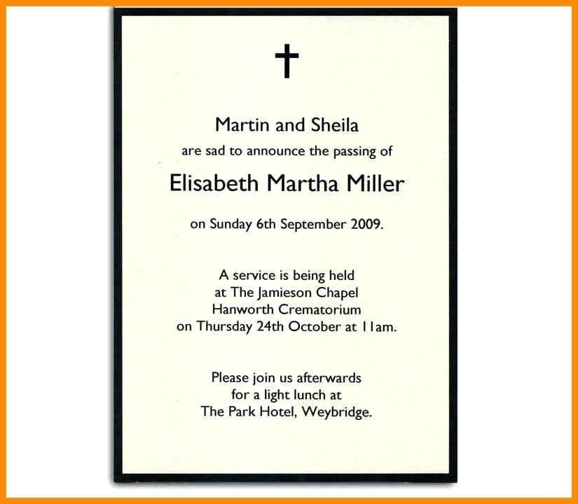Memorial Service Invitation Letter Template