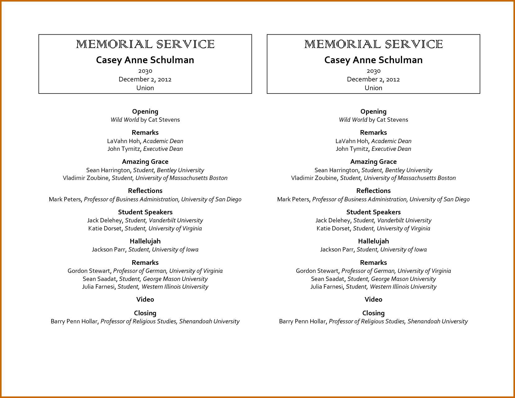 Memorial Service Programs Templates