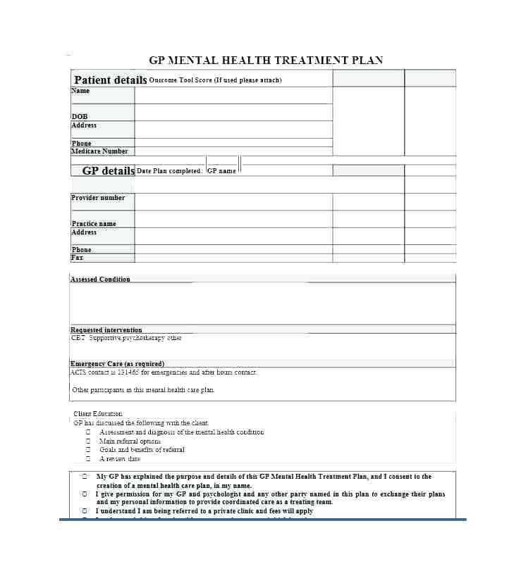 Mental Health Treatment Plan Samples