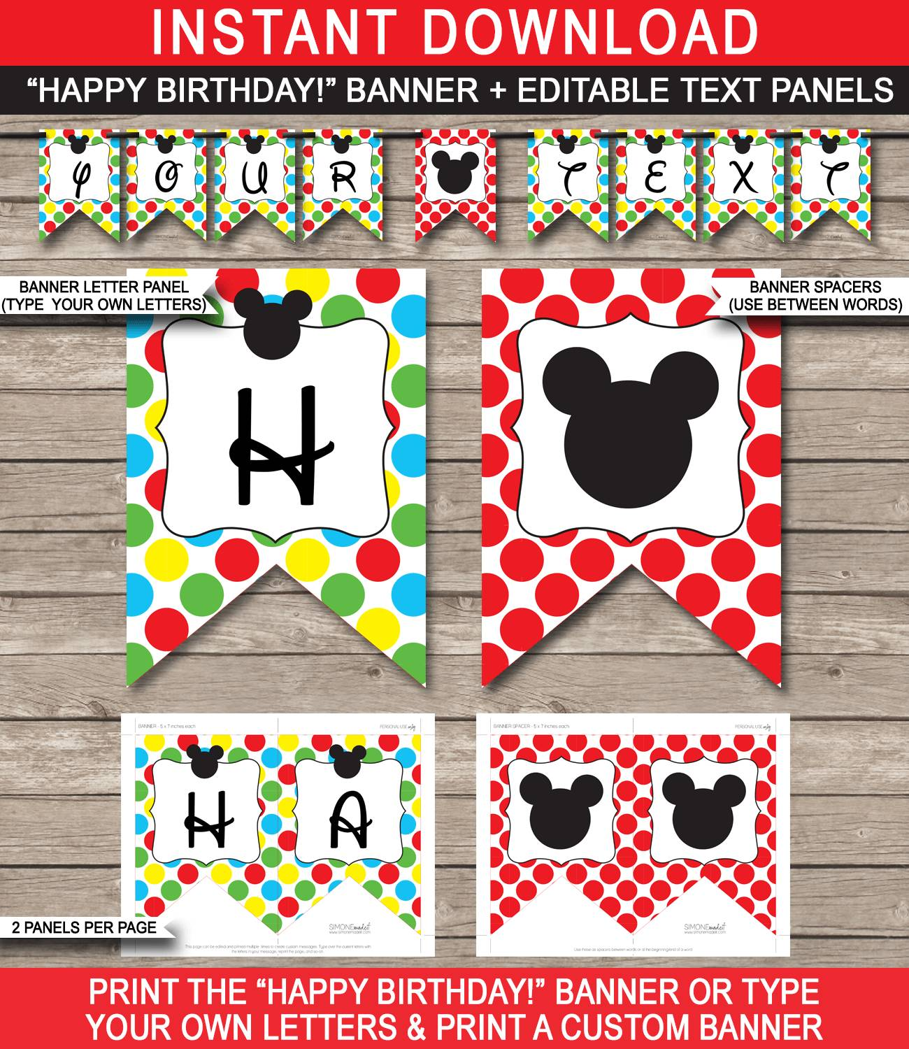 Mickey Mouse Birthday Banner Template